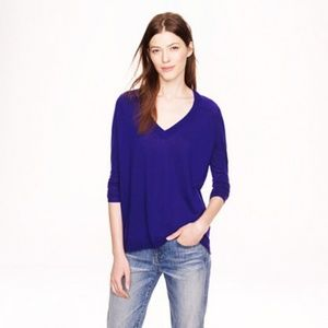 J CREW Cobalt Blue Relaxed V Neck Sweater Size M